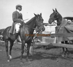 1900s Theatre Legend Actor John Drew Polo Player Horseback Glass Camera Negative