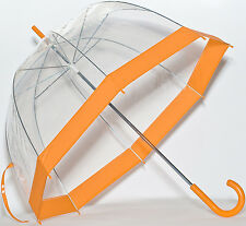 Elite See Through Clear Dome Bubble Umbrella With Orange Trim & Handle