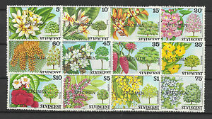ST VINCENT 1984 FLOWERS TREES SHRUBS SPECIMEN OPT 12v MNH