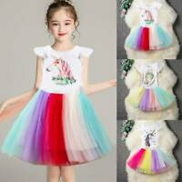 Girl's Cute Unicorn Dress Outfit T-shirt Top Tulle Tutu Skirt Party Clothes