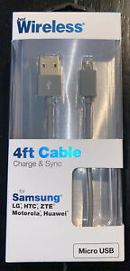 Just Wireless 4ft Micro USB cable for Samsung LG HTC ZTE Motorola Gray NEW
