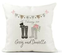 Personalised Cushion, Wedding Wellies, Welly boot, Farmer, Mr & Mrs Gift,