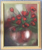 Large Vintage Painting Oil on Canvas~Framed~Red Poppies~Bouquet~Vase~Signed