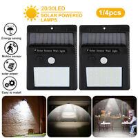 4x 30LED Solar Power Light PIR Motion Sensor Security Outdoor Garden Wall Lamp