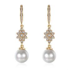 18K Gold Plated Swarovski Crystal Snowflake Pearl Drop Earrings