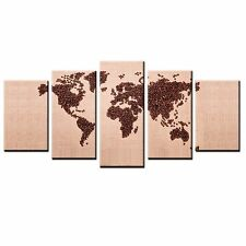 FRAMED Canvas Print Coffee Bean World Map Picture Wall Art Canvas Painting-5pcs
