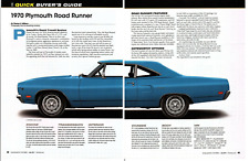 1970 PLYMOUTH ROAD RUNNER ~ GREAT 5-PAGE BUYERS GUIDE ARTICLE / AD