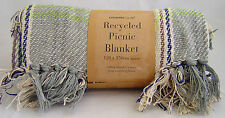 Country Club Recycled Cotton Picnic Blanket Throw Travel Rug 120x150cm Grey