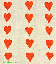 Mudcloth Textile Handwoven Bogolanfini Orange Hearts Mali Africa SALE WAS $49