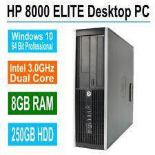 Hp Elite Desktop Computer, 8Gb Ram, 250Gb Hdd Intel Dual Core 3.0Ghz, Win 10 Pro