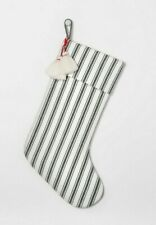 Hearth & Hand Magnolia Christmas Stocking Green and White Striped W/ Tassels NEW