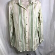 75593a0eb3813 Orvis Carefree Women s Long Sleeve Blouse Top Size 6 Button Front Stripes