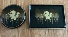 "Unicorn OTAGIRI Lacquerware Black & Gold Unicorn Tray, 7.5""x5.5"", & Trinket Box"