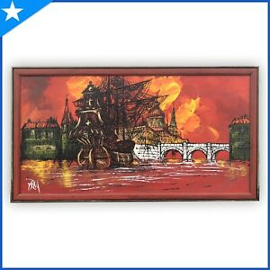 Vintage MCM Vanguard/Carlo of Hollywood-Type Lighted Painting Galion Ship LARGE
