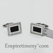 14K White Gold with 0.60Ct Diamonds Onyx Men's Cufflinks