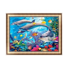 UK Full Drill 5D Diamond Embroidery Dolphin Painting Cross Stitch Craft Art