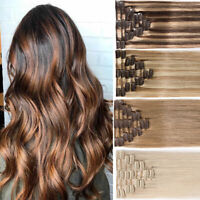 8 Pcs Clip In Full Head 100% Real Remy Human Hair Extensions Brown Russian Q046