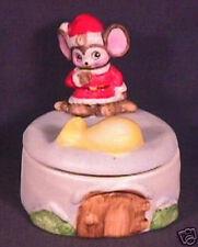 Porcelain Homco Sitting Christmas Mouse Trinket Box