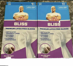 2 pair Mr Clean Bliss Premium Ultra Absorbent Latex Free Gloves Size S - WHITE
