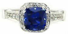 18K WHITE GOLD CUSHION CUT SAPPHIRE AND DIAMOND DECO ANTIQUE STYLE RING 2.70CTW