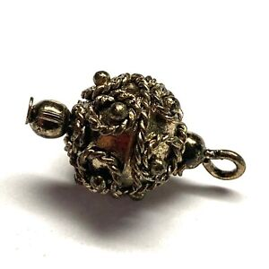 Antique Button ~ Fabulous Peasant Silver Filigree Finished w Gold Gilding