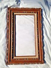 Vintage mid century Heavy Carved Wood Frame Western 12 X 24 EUC