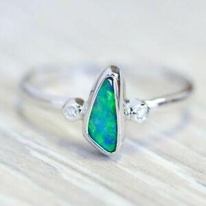 Fashion 925 Silver Opal White Topaz Ring Anniversary Wedding Jewelry Size 6-10