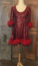 Red Feathered Dance ShowGirl Fancy Party Costume Halloween Handmade Dress Med