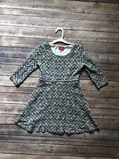 Pinky Los Angeles Double Knit 3/4 Sleeve Chevron Sweater Dress Girl's Size 8 Gra