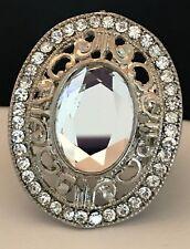 DESIGNER Statement Ring Antique Silver Crystal Stretch Premier Urban Chic 4P