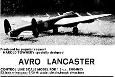 "Model Airplane Plans (UC): AVRO Lancaster I 1/24 Scale 52"" Bomber for 1.5cc's"