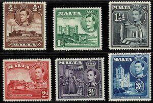 Malta 1943 King George VI And Local Motifs - Complete Set Of Six Stamps - MLH