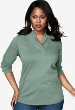 Women's 5X Green Shawl Collar LS Shirt Knit Top Bust 68 L 31 ROAMAN'S 4X 34/36
