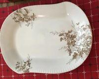 "Johnson Bros. Columbia Semi-Porcelain Brown & White Transferware Platter 14""x10"