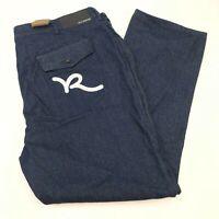 NWT Rocawear Denim Jeans Mens 48X34 Blue Classic Fit Medium Washed Flap Pockets