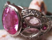 Ring 58, pink Saphir, Silber,