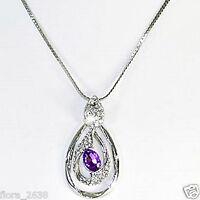 Très beau Collier argenté, pendentif cristal violet, strass, bijoux fantaisie N