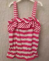 Granimals Girls Pink White Striped With Ruffles Shirt Top Blouse Size 5T