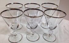 Glastonbury Lotus Brookmere Water Wine Goblet Platinum Trim Set of 6