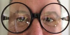 BIG BLACK ROUND EYE FRAME GLASSES Jumbo Lenses Clown Circle Nerd Funny Joke Gag