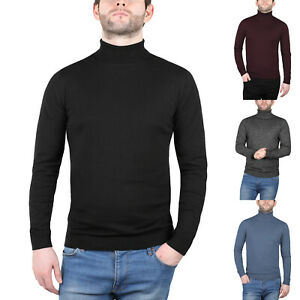 New Mens Turtle Roll Polo Funnel Neck Jumper Pullover Knitted Cotton Knit Top