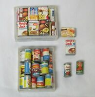 2 Boxes Shackman Vintage Dollhouse Food Pantry Grocery Items 47 PC Cans Boxes