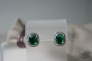 David Yurman 925 Silver Green Amethyst  Diamond Noblesse 585 Post Stud Earrings