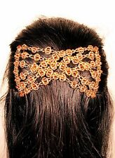 Womens Easy Magic Gold Beads Double Hair Grip EZ  2 Combs Clip Stretchy