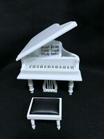 Dollhouse Miniature Classical White  Grand Piano & Stool