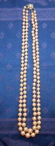 Schmuck, Zucht-Perlenkette,Ø 6-8 mm, 28 cm,doppelreihig,geknüpft,20.Jhdt,