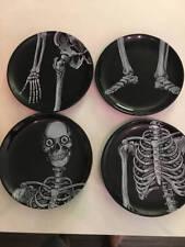 Dept. 56 Halloween Skeleton Appetizer Plates Set 4 Never Used 2004 Mint