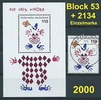 BRD Bund 2000 Für uns Kinder Mi.2134 gestempelt + Block53 postfrisch LUXUS!