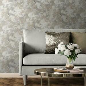 Muriva Elixir Liquid Marble Wallpaper Metallic Shimmer  Grey & Gold 166506