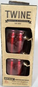 Twine Shot Glass Lot 2 Set Miniature Mini Red Moscow Mule Mug Rustic Holiday New